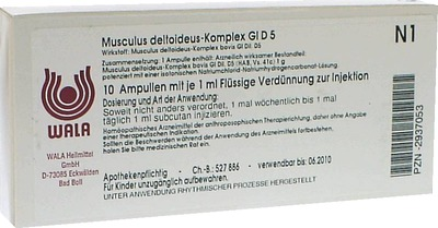WALA Heilmittel GmbH MUSCULUS DELTOIDEUS Komplex GL D 5 Ampullen 02937053