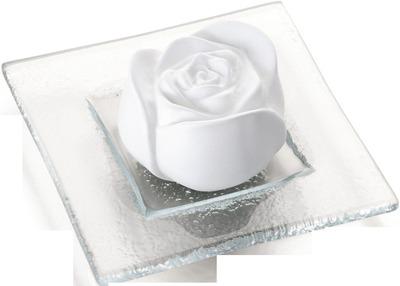 DUFTSTEIN Rosenblüte Glasteller transparent