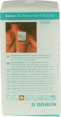 ASKINA Mullkompressen 7,5x7,5 cm unsteril 8fach