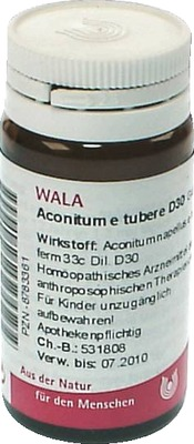 ACONITUM E tubere D 30 Globuli