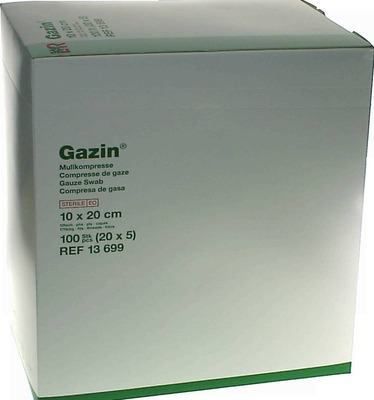 GAZIN Mullkomp.10x20 cm steril 12fach extra groß