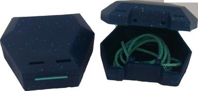 ZAHNSPANGENBOX mit Kordel grün mit Glitzer