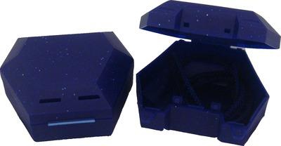 ZAHNSPANGENBOX mit Kordel blau mit Glitzer