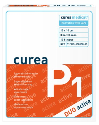 CUREA P1 duo active superabs.Wundaufl.10x10 cm